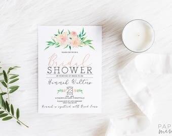 Bridal Shower Invitation | Printed Invitation | Floral Bridal Shower Invitation | Kitchen Tea Invitation |  Watercolour Flowers | Floral