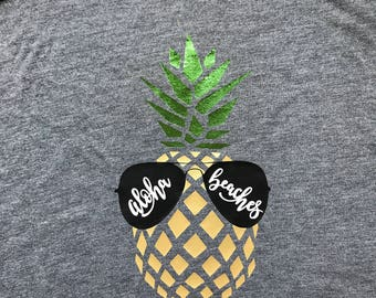 Aloha Beaches, Aloha decal, Aloha iron on, Aloha shirt, Aloha pineapple, Aloha pineapple shirt, Aloha pineapple decal, Aloha pineapple iron