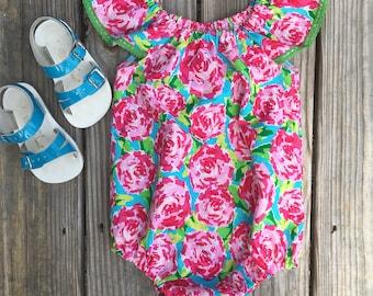 Lilly Inspired Rose Romper, Floral Romper, Summer Romper, Girl Romper