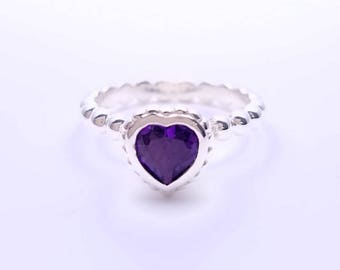 Silver ring bezel set Amethyst heart