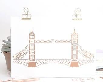 London prints, A4 London Bridge prints, London landmark print, Gift for traveller, Gift for London lovers, London gift, London illustration