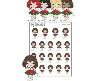 Planner Stickers Christmas Girl w/ Lights