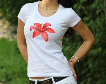 Flower Tshirt Summer shirt Gift for Women Designer T-shirt Flower shirt Lily T-shirt garden t shirt water lily flowers shirt Women's Tshirt