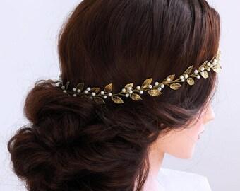 Gold Bridal Hair Vine-Wedding hair vine- Gold leaf hair vine -Long hair vine-Gold Pearl hair vine-Bohemian bridal headpiece-Silver hair vine
