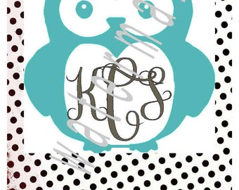 Owl Monogram SVG file monogram or personalize - mongram svg - Owl svg  Owl label  Owl t shirt transfer  Owl shirt JPEG Cute owl svg