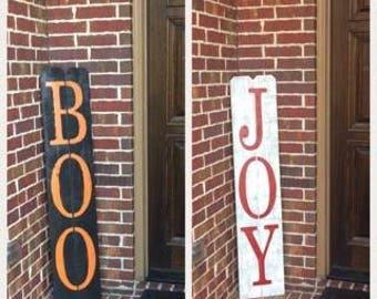 Reversible Halloween/Christmas sign, Rustic Halloween/Christmas Sign, Boo/Joy, Front Porch, Porch Decor, Outside sign, Halloween, Christmas