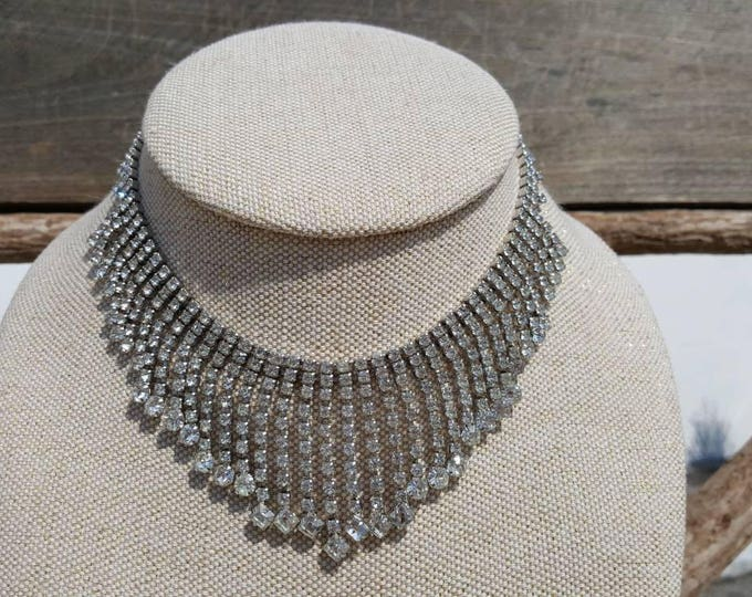 On Sale - Wedding Formal Kramer of New York Vintage Clear Rhinestones Sparkle Necklace