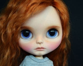 Ray,ooak custom takara blythe doll with red mohair reroot