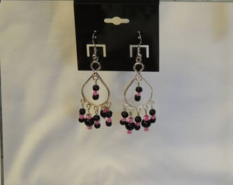 Pink and Black Bead Chandelier Earrings