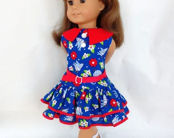 18 inch doll clothes. Handmade to fit dolls like American Girl. Doll's dress, belt. Vintage inspired doll dress, blue/red bird/flower print