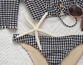 womens swimwear / bikini set / gingham bikini set/ bandeau bikini / off shoulder bikini / swimsuit / lace up bikini / women clothing /