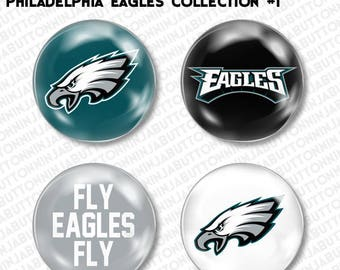 PHILADELPHIA EAGLES pins buttons - set of 4 - the birds gang green football nfl (choose your style!)