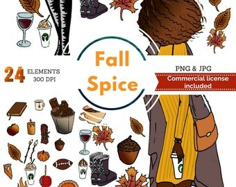 Fall planner clip art, autumn planner stickers, african american planner girl stickers