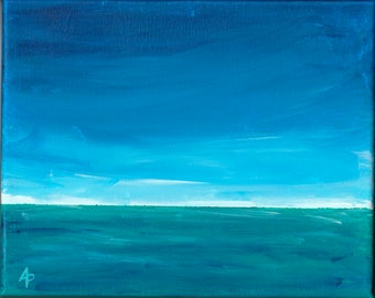 DISTANT LANDS #6 – OOAK Acrylic on Canvas Seascape Painting by Annie Palone