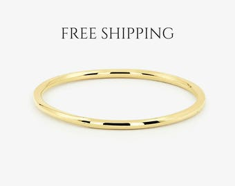 Gold Ring / 14K Solid Gold Round Wedding Band/ 1 MM Yellow Gold Ring/ Dainty Stacking Ring/ Simple Delicate Ring/ Thin wedding band