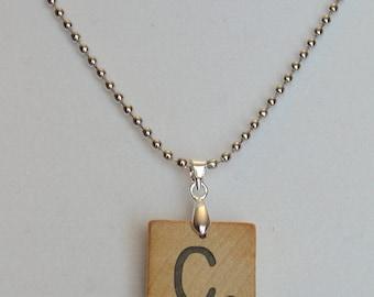 Scrabble Letter Tile Necklace; Scrabble Pendant - Choose Your Initial; Game Piece Jewelry; Wooden Letter Tile Necklace; Darker