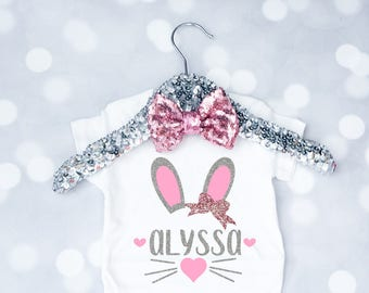 Baby Girls Personalized Bunny Easter Shirt, Toddler Easter Outfit, Happy Easter Onesie, My First Easter, Newborn Easter, Toddler Easter