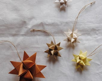 Braided stars for Christmas tree/decoration for tree/hand folded paper decoration/Nordic Decoration