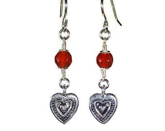 Silver Heart Earrings with Carnelian