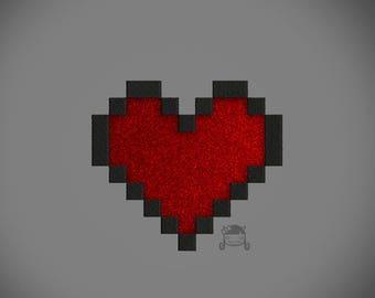 8 Bit Heart Appliqué