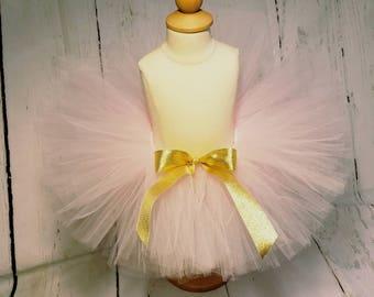 Pink Girls Tutu, Newborn Tutu, Pink and Gold Tutu, Pink Birthday Tutu, Pink Ribbon Tutu, Toddler Girls Birthday Tutu, Girls Pink Tutu Skirt
