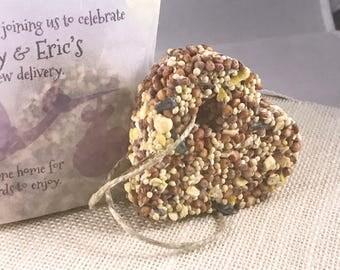 20 Birdseed Favors - Eco Friendly Bird Seed Wedding or Baby Shower idea! Custom print favor packaging.