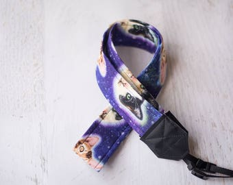 cats camera strap, galaxy cats, cat heads, photographer gift, womens accessory, dslr camera strap, padded camera strap, camera accessory