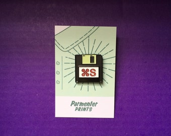 Save Yourself Floppy Disk Enamel Pin (Glows in the Dark!)