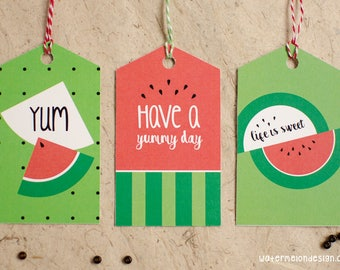 Watermelon Gift Tags | Set of 8 | 2x4 designs