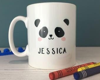 Monochrome Panda Mug - Personalised Gift - Unisex Gift - Name Mug - Children Camping Mug - Christening Gift