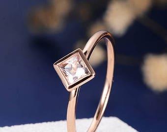 Princess Cut Morganite Engagement Stacking Ring Rose Gold Engagement Ring Bezel Set Solitaire Ring Minimalists Simple Rhombus Ring