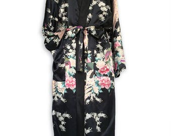 Black Floral Kimono Robe, Handmade Womens Robes, Floral Bride Robe, Bath Robe Womens robe