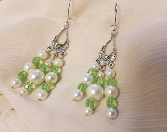 Glass white pearl and pale green crystal dangle earrings