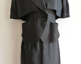 Bernard Perris black linen 3 piece set of bolero top and skirt