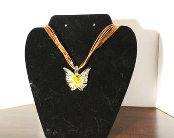 Yellow Glass Butterfly Necklace