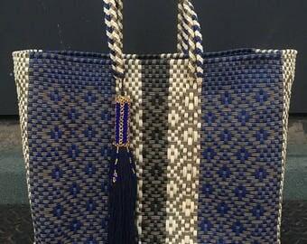 Artisanal Handwoven Plastic Handbag, Beach Bag, Mexican Bag