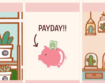 Payday Stickers, Functional stickers, Money, Piggybank stickers, Payday planner stickers, Functional planner sticker (FI001)