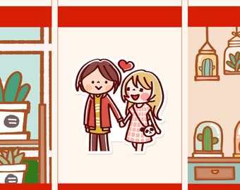 Cute Couple Stickers, Couple planner stickers, Cute Planner Sticker, girl stickers, Kawaii Dating stickers, Dating stickers (HF007)
