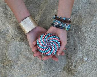 Turquoise Mixed Painted Rock - Mandala Stone - Hand-painted Meditation Mandala Stone - Geometry - Mandala Art - Painted Stone - Paperweight