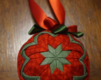 red and green handmade holiday ornament