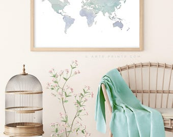 Large world map poster etsy world map print world map wall art large world map poster print gumiabroncs Gallery