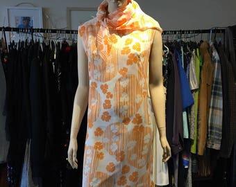Orange 1970s Summer Dress & Scarf