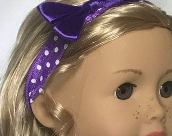 Purple Polka Dot  Headband With Bow for 18 Inch Dolls