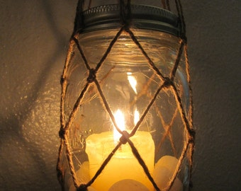 Hanging Mason Jar Vase or Candleholder w/Twine  l  Hanging Mason Jar w/Macrame - Beach Decor