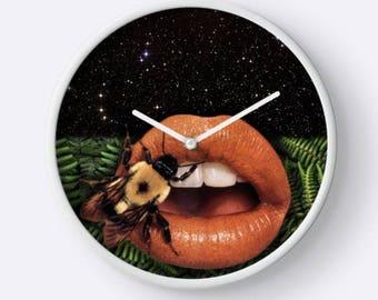 Bee Clock,Lips Clock, Lips Wall Clock, Stars Clock, Stars Wall Clock, Plant Clock, Plant Wall Clock, Unique Wall Clock, Hanging Clock,