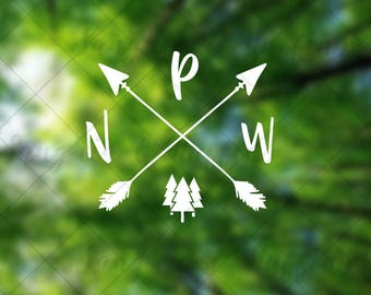 Pacific Northwest Pride with crossing arrows trees - car, window, laptop, tablet decal - PNW love decal - PNW life decal