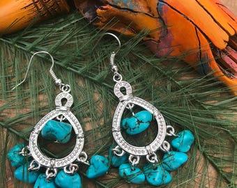 Turquoise Chandelier Earrings || Boho Chic Earrings || Semi Precious Earrings || Blue Earrings