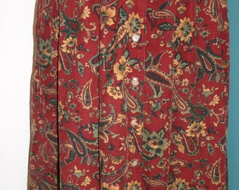 Vintage Skirt Fine Cord 1980's by Damart Floral Design