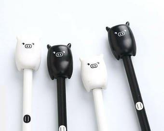 4 Pc Kawaii Cute Black & White Pig Gel Pen Set ~ Funny Pigglet Pens, Planner Accessories, Stationery, Cartoon Animals, School Supplies, Gift