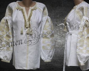 Linen Top White Autumn Shirt Bohemian White Linen Blouse Vyshyvanka Mexican Style Ukraine Embroidered Blouse Ethnic Embroidery Free Shipping
